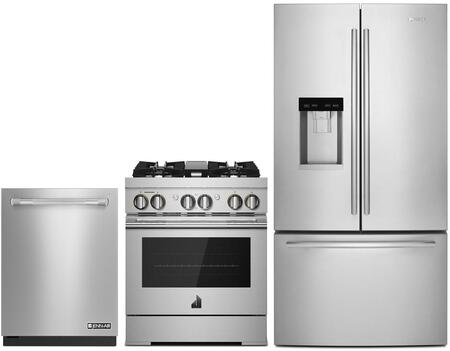 3 Piece Wi-Fi Connected Kitchen Appliances Package with JFFCC72EFS 36″ French Door Refrigerator  JDRP430HL 30″ Dual Fuel Gas Range and JDTSS246GP 24″
