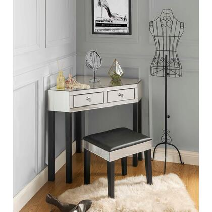 Perry Collection JF97-07BK-AC Mirrored Vanity Table with 2 Drawers  Transitional Style and Stool Included in Black