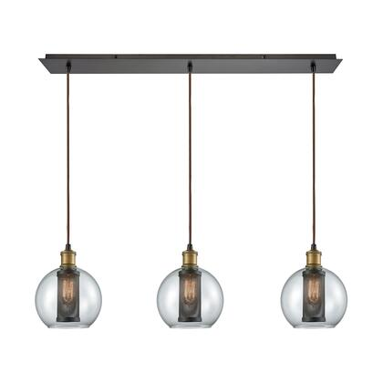 14530/3LP Bremington 3 Light Linear Pan Pendant in Tarnished Brass/Oil Rubbed Bronze with Clear Glass and
