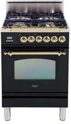 Ilve Nostalgie UPN60DVGGNLP Freestanding Gas Range Black, Main Image