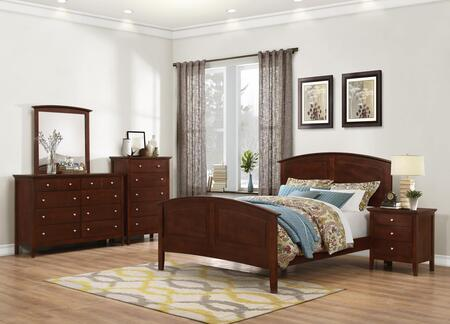 Whistler Collection WH700FNCMDR 5-Piece Bedroom Set with Full Bed  Nightstand  Chest  Mirror and Dresser in Brown