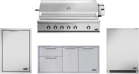 4 Piece Grill Package with 48″ Liquid Propane Grill  48″ Storage Drawer  20″ Trash Drawer and 24″ Compact Refrigerator in Stainless