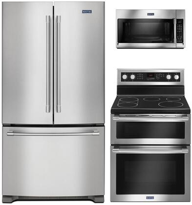 """4 Piece Kitchen Appliances Package with MFC2062FEZ 36"""" French Door Refrigerator MET8800FZ 30"""" Electric Range and MMV6190FZ 30"""" Over the Range"""