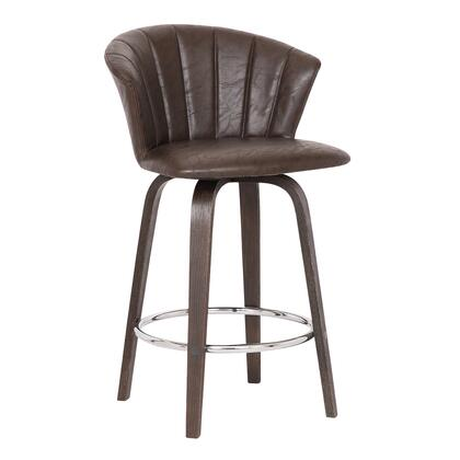 Armen Living Connie LCCNBAWABR26 Bar Stool Brown, LCCNBAWABR26