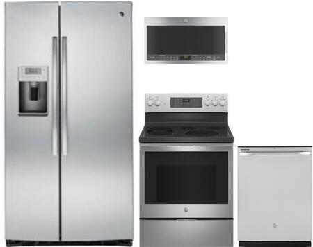 4 Piece Kitchen Appliances Package with PSE25KSHSS 36″ Side by Side Refrigerator  JB860SJSS 30″ Electric Range  PVM9005SJSS 30″ Over the Range