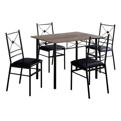 I 1022 Dining Set – 5-Piece Set / Dark Taupe / Black