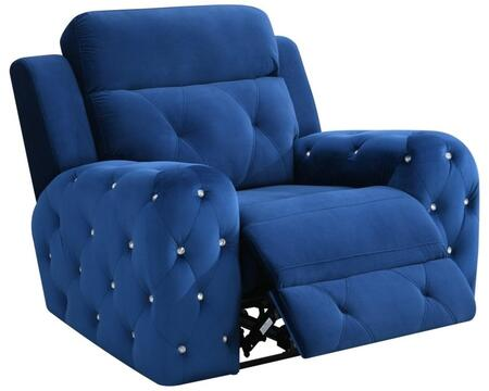 U8311-BLUE VELVET-PR Power Recliner 43″ with Posh Crystal Tufted Arms and Leek Brushed Nickel Backlit Power Button with Built in USB Charging Port in