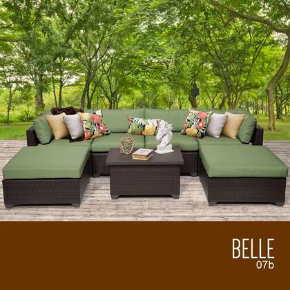 BELLE-07b-CILANTRO Belle 7 Piece Outdoor Wicker Patio Furniture Set 07b with 2 Covers: Wheat and -  TK Classics, BELLE07BCILANTRO