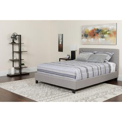 HG-BMF-25-GG Tribeca Twin Size Tufted Upholstered Platform Bed in Light Gray Fabric with Memory Foam
