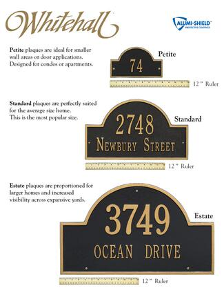 Whitehall Products 1295AC Address Plaques, Size Chart
