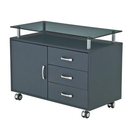 RTA-S10-GPH06 Rolling Storage Cabinet with Frosted Glass Top  in