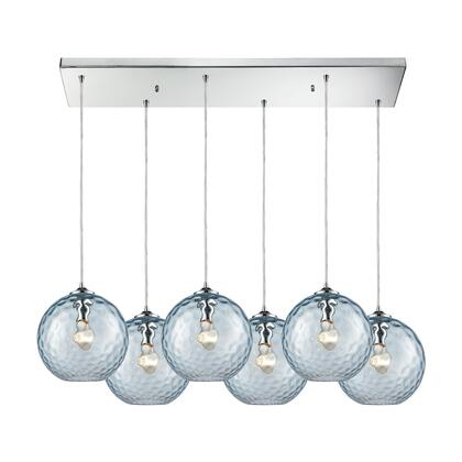 31380/6RC-AQ Watersphere 6 Light Rectangle Fixture in Polished Chrome with Aqua Hammered
