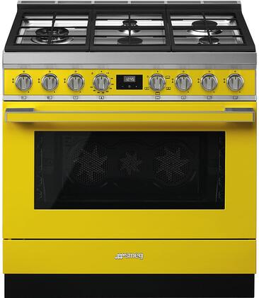 Smeg Portofino CPF36UGGYW Freestanding Gas Range Yellow, Main Image