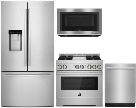 4 Piece  Wi-Fi Connected Kitchen Appliances Package with JFFCC72EFS 36″ French Door Refrigerator  JGRP536HL 36″ Gas Range JMV8208CS 30″ Over the