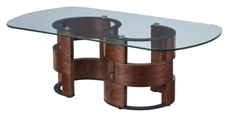 1601COFFEETABLE 51″ x 28″ Coffee Table with Glass Top and Wood Base in Walnut