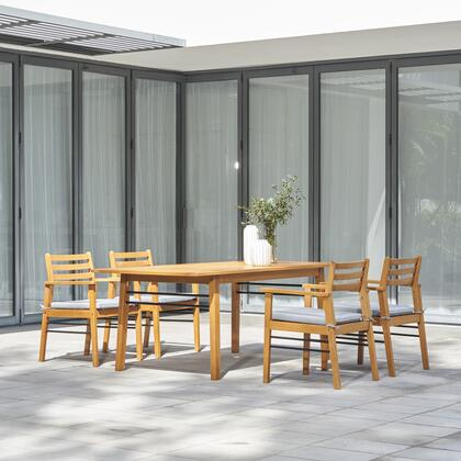 V1919SET1 Gloucester Teak-like 5-Piece Dining Set with Table and 4x Arm Chairs in Natural Wood