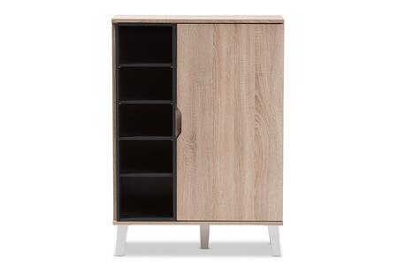 Wholesale Interiors Adelina SESC16104HANAOAKDARKGREYSHOECABINET Shoe Rack Brown, SESC16104-Hana Oak/Dark Grey-Shoe Cabinet front