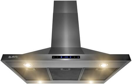 RH0408 36″ Convertible Island Mount Range Hood with 343 CFM  LED lights  3-speed Level  Mesh Filters and Touch Controls in Black Stainless