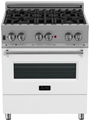 RAS-WM-30 30″ White Matte Professional Natural Gas Dual Fuel Range with 4 Italian Burners  4 cu. ft. Capacity Oven  Cast Iron Grates and Dual