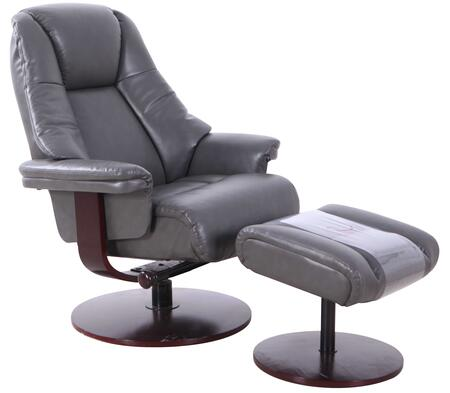 Lindley Collection LINDLEY780515 Recliner and Ottoman with 360 Degree Swivel  Adjustable Recline  Memory Foam Seating  Angled Ottoman and Durable