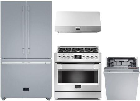 4 Piece Kitchen Appliances Package with F6FBM36S1 36″ French Door Refrigerator  F6PGR366S1 36″ Gas Range  F6PH36S1 36″ Under Cabinet Convertible Hood