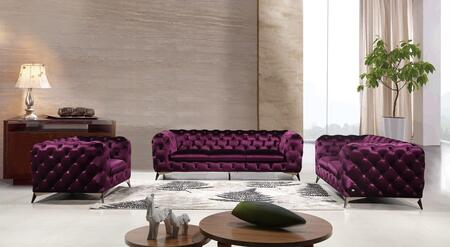 J and M Furniture Glitz 183352SLCP Living Room Set Purple, Main Image