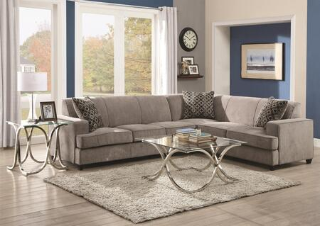 Coaster Tess 500727SET Sectional Sofa Gray, 3 PC Set