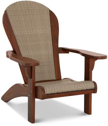 Bahama Adirondack Collection DN-1581 Chair with Teak Construction  All-Weather Wicker Material  Stainless Steel and Brass Hardware  Mortise and Tenon