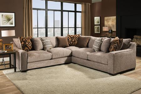 Minnesota Collection 181400-2007-3PC-SEC-HS 113″ 3 PC Sectional with Decorative Pillows  Track Arms  Block Feet  Polyester Upholstery  Homespun Stone