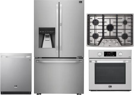 4 Piece Kitchen Appliances Package with LSFXC2476S 36″ French Door Refrigerator  LSWS307ST 30″ Single Wall Convection Oven  LSCG307ST 30″ Gas Cooktop