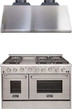 "Professional Series 2-Piece Kitchen Appliances Package with KRG4804ULP 48"" Liquid Propane Gas Range and KRH4805U 48"" Canopy Pro Range Hood in"