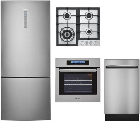 Haier 892218 4 piece Stainless Steel Kitchen Appliances Package