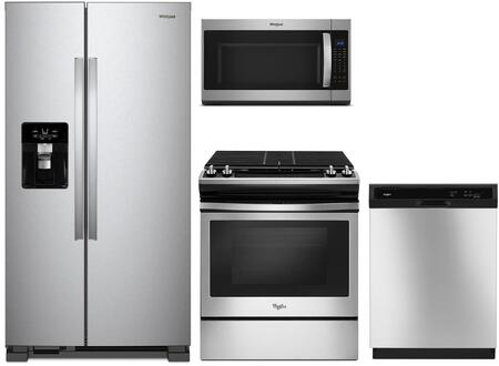 4 Piece Kitchen Appliances Package with WRS555SIHZ 36″ Side by Side Refrigerator  WEG515S0FS 30″ Slide-in Gas Range  WMH53521HZ 30″ Over the Range