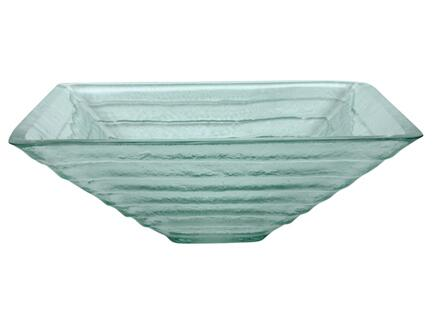 EB_GS57 17″ Vessel Sink with 1 Year Limited Warranty  Rectangular Shape and Tempered Glass Material in Crystal Glacier