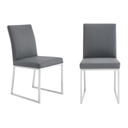 LCTRCHBSGR Trevor Contemporary Dining Chair in Brushed Stainless Steel and Grey Faux Leather – Set of