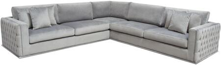 Envy Collection ENVY-3PC-SECT-GR 3-Piece Sectional Sofa with Velvet Upholstery  Button Tufting  Accent Pillows Included  Silver Metal Trim and