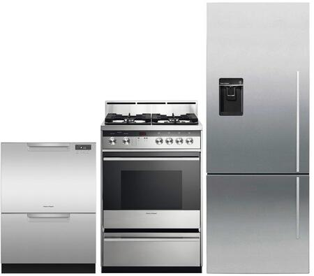 """3 Piece Kitchen Appliances Package with RF135BDLUX4N 25"""" Bottom Freezer Refrigerator OR24SDMBGX2N 24"""" Gas Range and DD24DCTX9N 24"""" Double Drawer"""