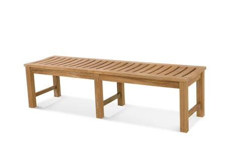 Classic Collection DN-3060 6′ Backless Bench with Teak Construction  Stainless Steel and Brass Hardware  Mortise and Tenon Joinery in Honey