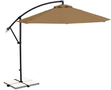 Blue Wave NU6400ST Outdoor Umbrella Brown, Image of Open Canopy with Stone Olefin Colored Fabric
