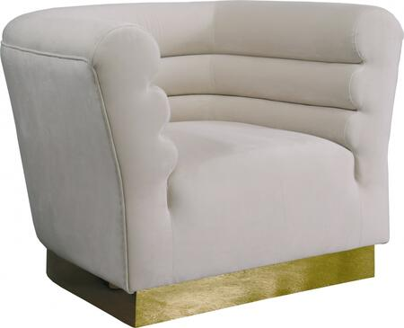 Bellini 669CREAM-C 44″ Chair with Piped Stitching  Gold Stainless Steel Base and Velvet Upholstery in