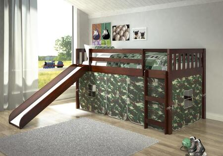 715-TCP-750C-TC 78″ Twin Mission Low Loft with Camo Colored Tent  Built in Slide  Built in Ladder and Pine Construction in Dark