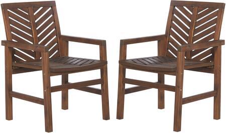 OWC2VINDB Patio Wood Chairs Set of 2 in Dark