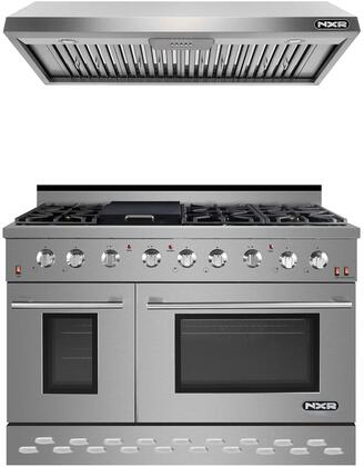 """2 Piece Kitchen Appliances Package with SC4811LP 48"""" Gas Range with Liquid Propane and EH4819 48"""" Pro Style Under Cabinet Ducted Hood in Stainless"""