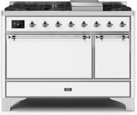 Ilve Majestic II UM12FDQNS3WHC Freestanding Dual Fuel Range White, UM12FDQNS3WHCNG-Front-CD-A