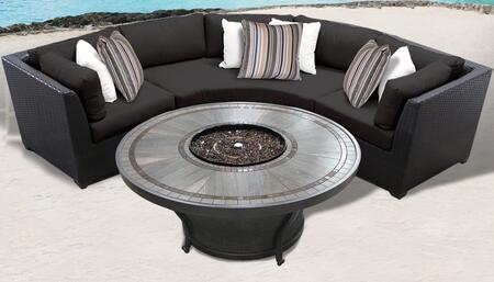 Barbados Collection BARBADOS-04h-BLACK 4-Piece Patio Set with 2 Corner Chairs  Curved Armless Chair and Huntington 48″ Round Fire Pit Table – Wheat