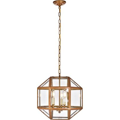 LD6001D14G Caro 3 Light 14 inch Vintage Gold Pendant Ceiling