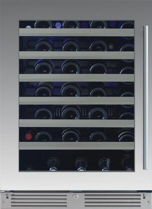 XOU24WGSL 24″ Single Zone Wine Cooler with 54 Bottle Capacity  Telescoping Wire Racks  Tri-Color LED Lighting and Low-E Glass Door in Stainless