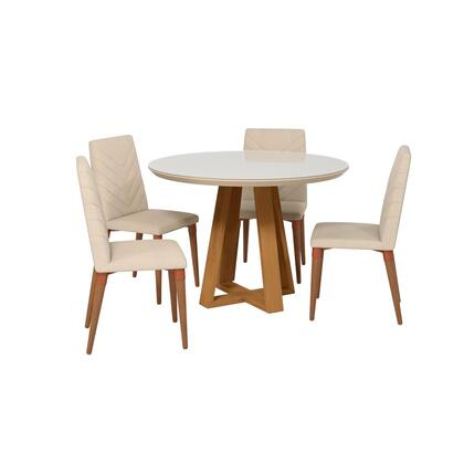 Duffy and Utopia Collection 2-1018551109251 5 PC Dining Set with Contemporary Modern Style  Medium-Density Fiberboard (MDF) Frame  Pine Wood Feet and