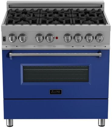 RAS-BM-36 36″ Blue Matte Professional Natural Gas Dual Fuel Range with 6 Italian Burners  4.6 cu. ft. Capacity Oven  Cast Iron Grates and Dual