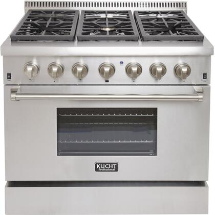 KRD366F-S 36 Professional Natural Gas Dual Fuel Range with 6 Sealed Burners  5.2 cu. ft. Oven Capacity  4 Stainless Steel Backsplash  Convection